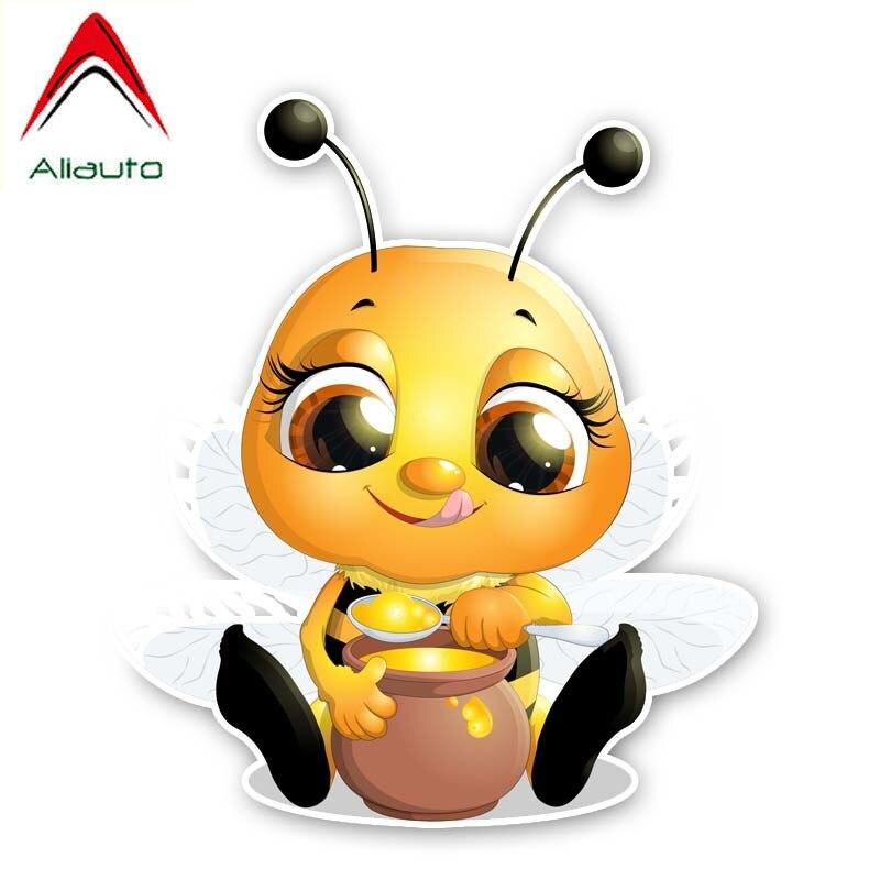 Aliauto Bees Car Sticker That Eat Honey PVC Decal for Toyota Ford Chevrolet Volkswagen Honda Hyundai,14CM*16CM