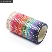 24 rouleaux/ensemble feuille mince Washi ruban bricolage décoration Scrapbooking planificateur 3mm * 5m ruban de masquage ruban adhésif étiquette autocollant papeterie