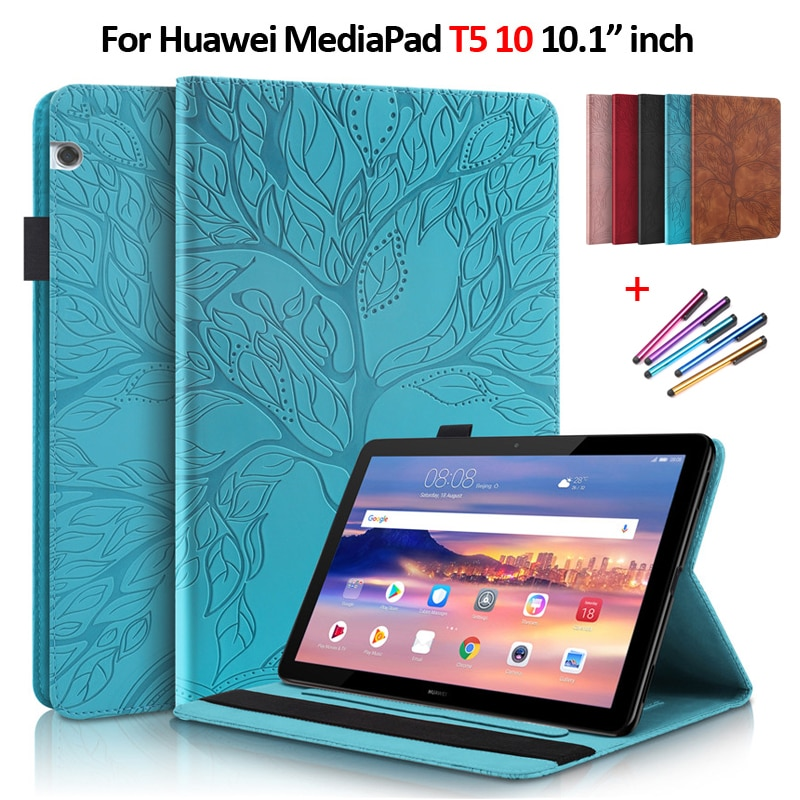 Emboss Tree PU Leather Flip Case for Huawei Mediapad T5 10 Case 10 1 inch Wallet Stand Tablet Funda