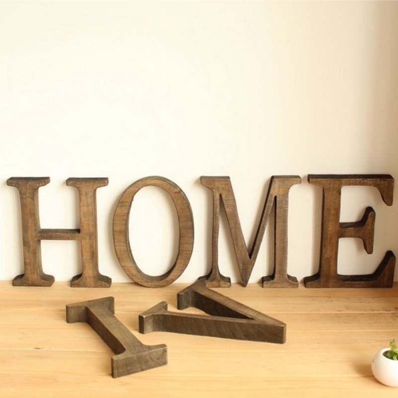 35cm Wooden Letter English Alphabet DIY Personalised Name Design Art Craft Free Standing Heart Wedding Home Bar Coffee Decor  - buy with discount