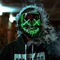 Светодиодный маска к Хэллоуину световой светится в темноте туши для ресниц Хэллоуин Детский костюм для вечеринок Косплэй маски Ужас реквизит неоновый светильник маскарад - фото
