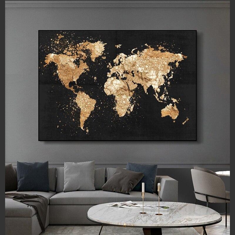 Abstrakte Welt Karte Leinwand Malerei Retro Poster und Drucke Moderne Wand Kunst Bild für Wohnzimmer Studie Wohnkultur
