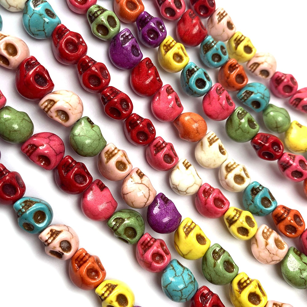 2021 New Mix Color Skull Turquoises Beads Charm Loose Isolation Beads For Jewelry Making DIY Necklace Bracelet Accessories Gift  - buy with discount