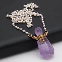 new charm amethyst natural semi precious stone perfume bottle pendant free pearl chain accessories diy necklace jewelry making