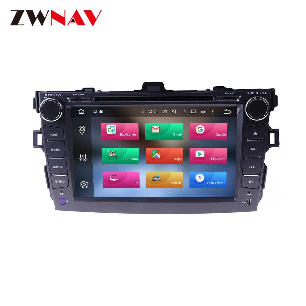 Navegação gps do reprodutor de dvd do carro do rádio de android 9.0 4 + 64g dsp para o gravador de fita dos multimédios da unidade principal de toyota corolla 2007-2013