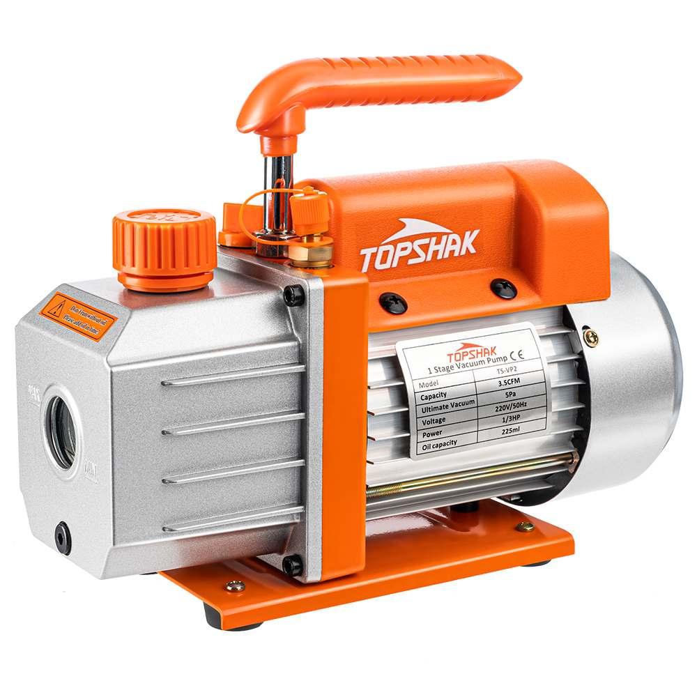 Topshak TS-VP2 1/3 HP مضخة تفريغ 220 فولت 3.5 CFM/ 110 فولت 4.0 CFM مكيف الهواء المبردات عدة هوائية مع محرك الثقيلة