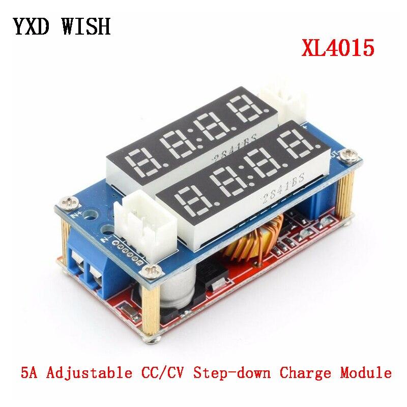 2 en 1 XL4015 5A potencia ajustable CC/CV módulo de carga descendente LED placa controladora voltímetro amperímetro voltaje de corriente constante