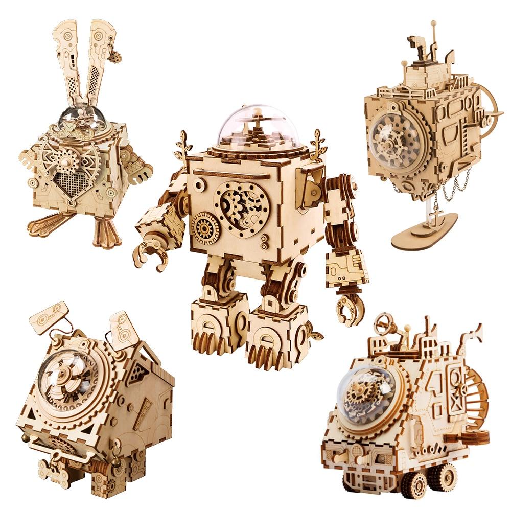 Robotime ROKR روبوت Steampunk صندوق تشغيل الموسيقى ثلاثية الأبعاد خشبية لغز تجميعها نموذج بناء عدة لعب للأطفال هدية عيد ميلاد