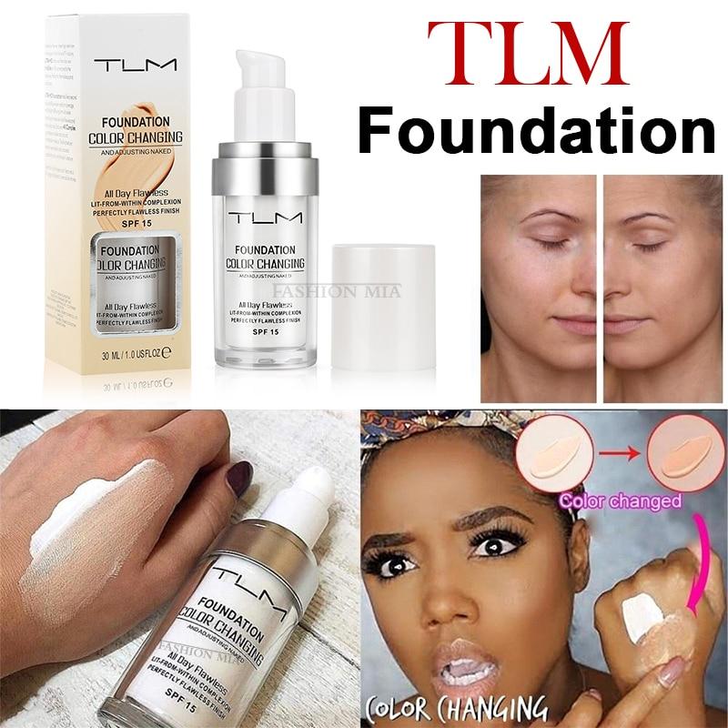 Fundação quente de tlm 30ml mágica maquiagem cor mudando fundação líquida longa duração matte cobertura alta corretivo creme base