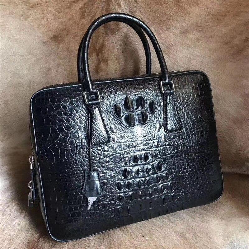 حقيبة جلد التمساح الأصلي للرجال ، حقيبة يد بمقبض علوي كبير ، جلد التمساح الأصلي ، قفل مفتاح ، حقيبة كمبيوتر محمول لرجال الأعمال