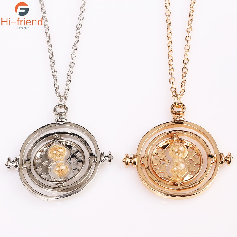 Joyería de moda, COLLAR COLGANTE HP Time Turner series, collar de cristal de arena para mujeres
