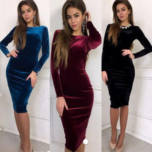 2020 or velours robe femmes Sexy extensible mince rétro robe femme élégant à manches longues col rond élégant robes de soirée