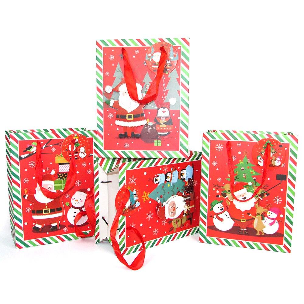 Bolsa de papel de Feliz Navidad Regalo con asa bolsa de embalaje de favores para niños polvo de brillo rojo árbol de Navidad perro regalo caja de decoración