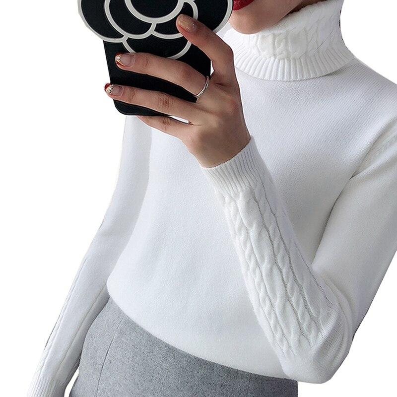 Gruesa suéter de invierno de las mujeres de punto Jersey estriado suéter de manga larga de cuello alto delgado Tricot Jersey cálido suave para mujer