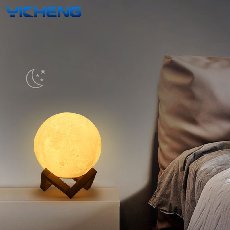 LED Nightlight 3D Print Moon Lamp Dimmable USB Charging Desk Lamp Touch Remote Control Moon Light Ki