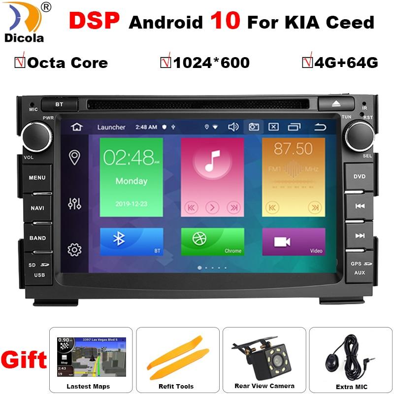 """7 """"IPS 4G + 64G 2 Din Android 10 DSP coche multimedia reproductor de dvd para KIA Ceed 2009, 2010, 2011, 2012 auto radio GPS navegación obd2 DVR"""