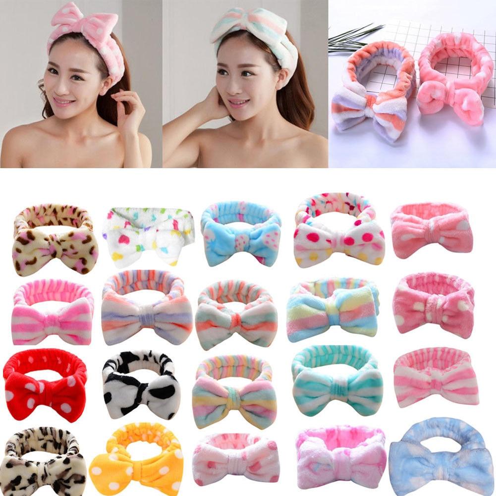 Korean Fashion Dot Printed Plush Bow Headbands Wash Face soft Hairband Makeup Headwrap Turban Elasti