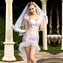Female role play sexy bride white glamorous wedding dress, Cosplay dance costumes