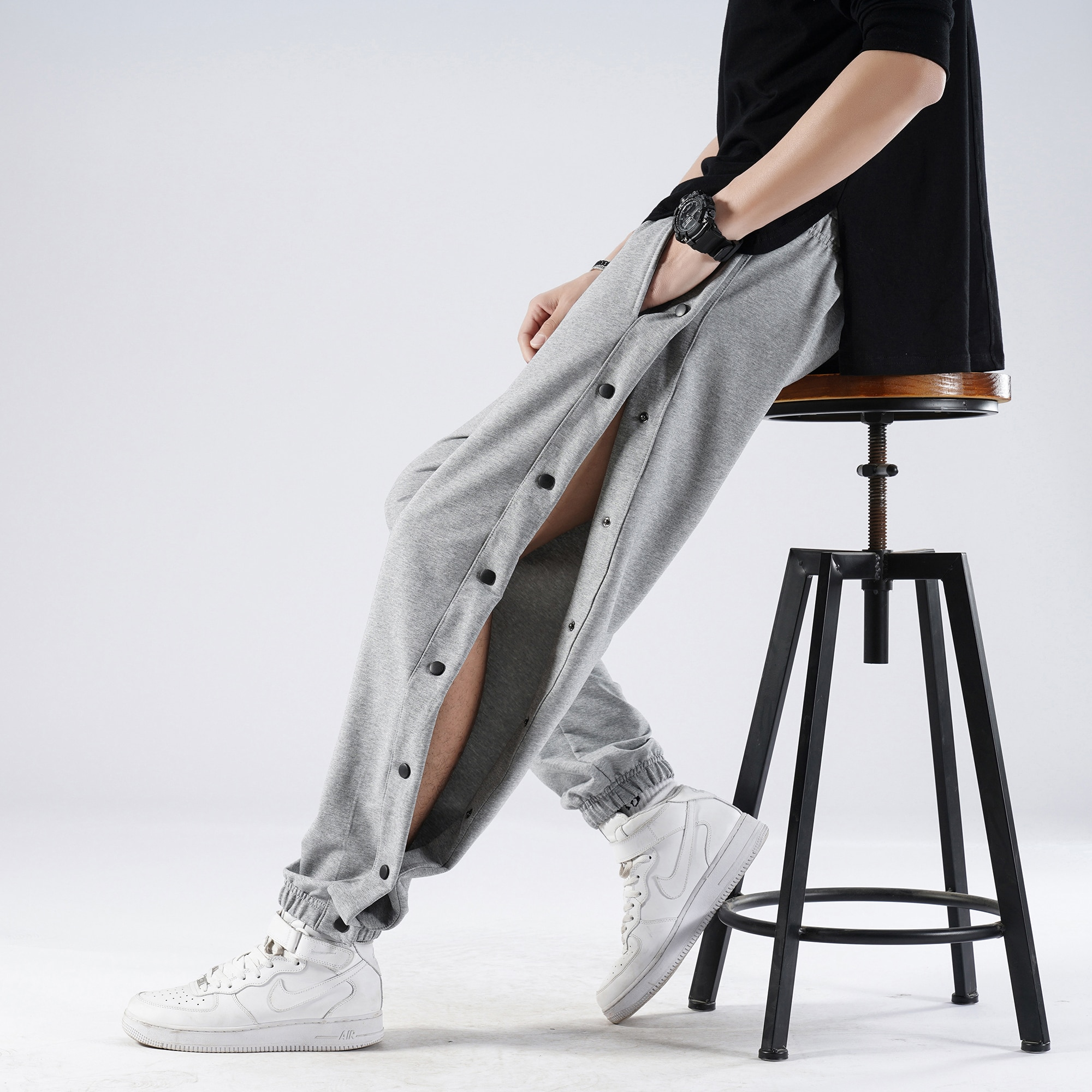 New Open-Breasted Guard Men Pants Spring Summer Thin Cotton Elastic Waist Sports Trousers Men Loose