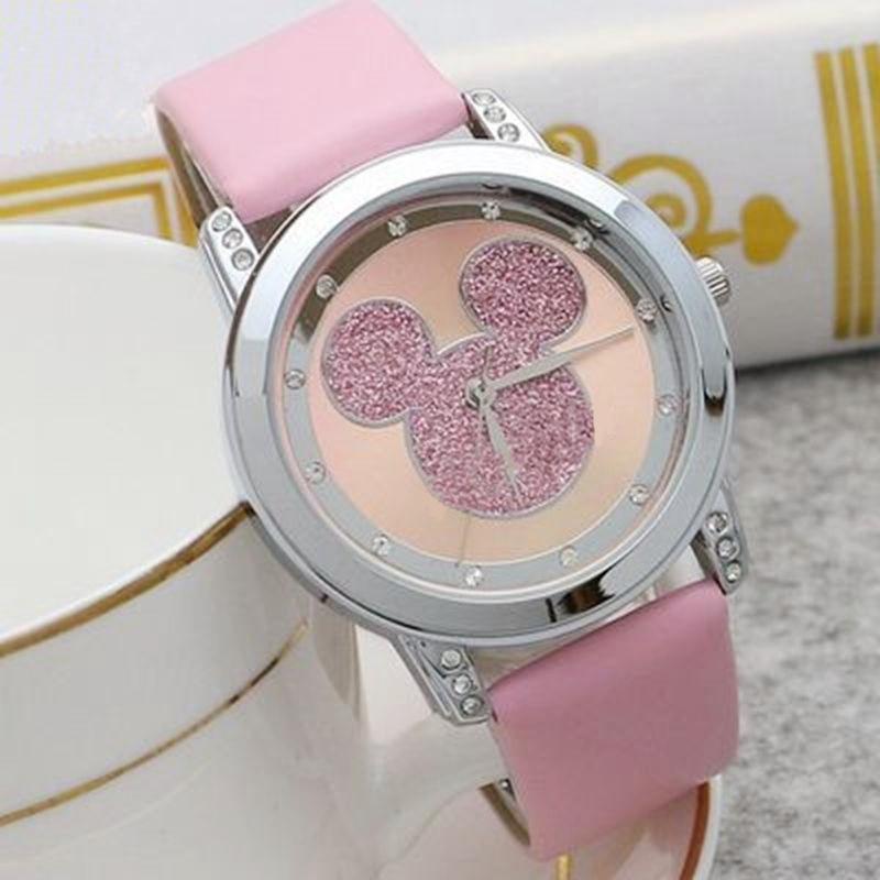 Mickey Mouse Minni Steel Quartz Watch Cartoon Children Watches Crystal Diamond Ladies Student Women