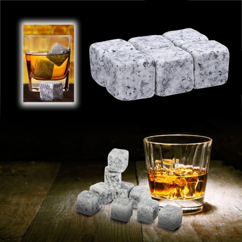 6 pçs reusável refrigerando pedras do vinho bebidas refrigerador rock barware uísque natural gelo cubo pedras bebida pedra livre saco de armazenamento