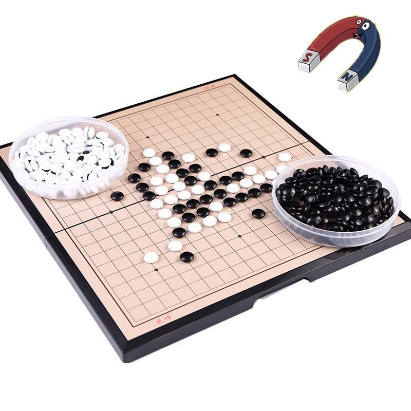 19*19 خط المغناطيسي الذهاب لعبة طوي Weiqi الاكريليك أسود أبيض شيسمان لعبة الشطرنج ل بازل للأطفال الشطرنج مجلس لعبة اللعب هدية