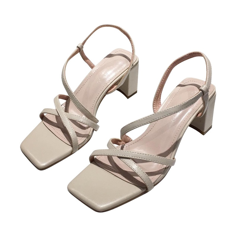 2021 Summer Women Sandals Narrow Band Korean Style Office Lady Shoes Square Toe Mother's Day Gift Wedding Party Sandalias