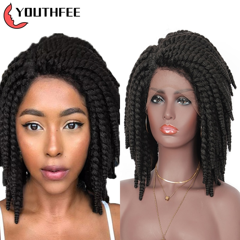 """Youthfee Swiss Lace Frontal Synthetic Wigs With Baby Hair 15"""" Twist Braided Wig For Black Women Short Lace Front Braid Wig"""