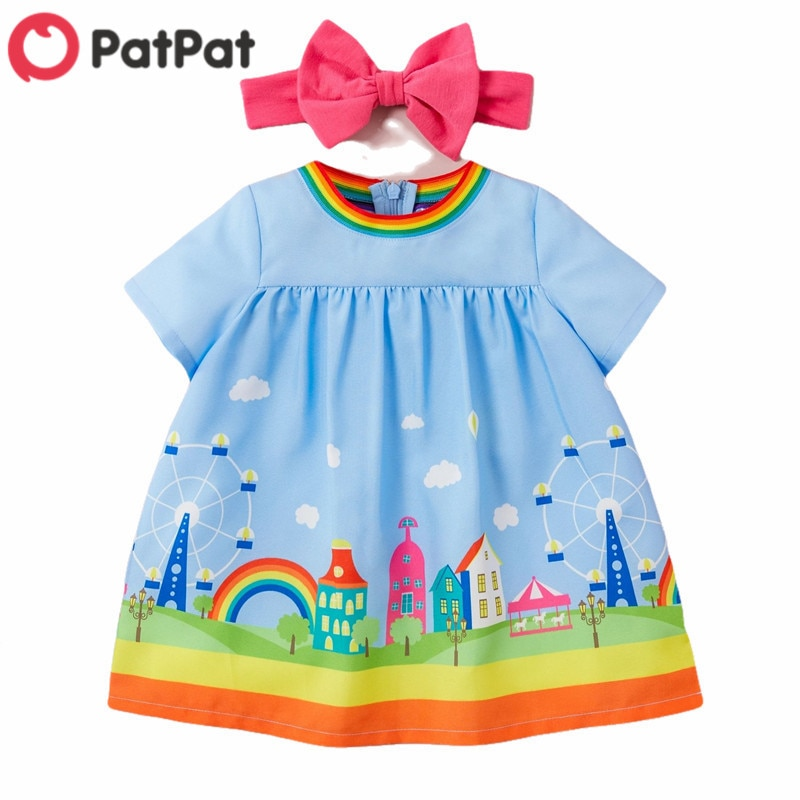 PatPat 2020 New Summer 2-piece Baby Toddler Amusement Park print Dress with headband for Baby Girl S