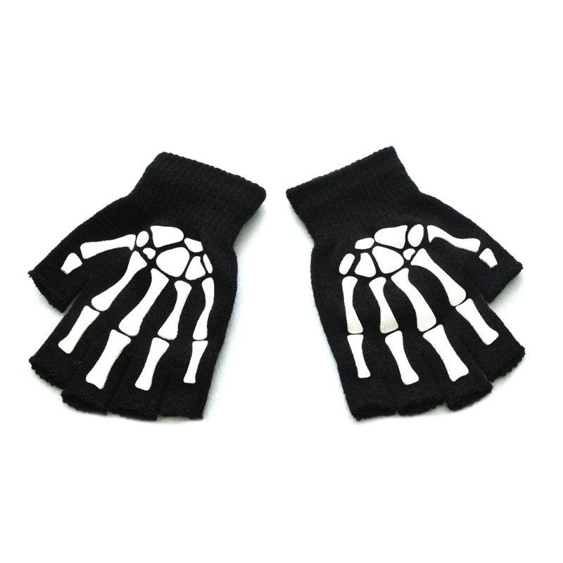 Uni  Halloween Skeleton Skull Half Finger Gloves Glow in the Dark Fingerless Stretch Knitted Winter Mittens