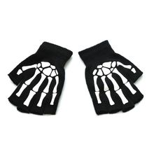 Unisex Adult Halloween Skeleton Skull Half Finger Gloves Glow in the Dark Fingerless Stretch Knitted