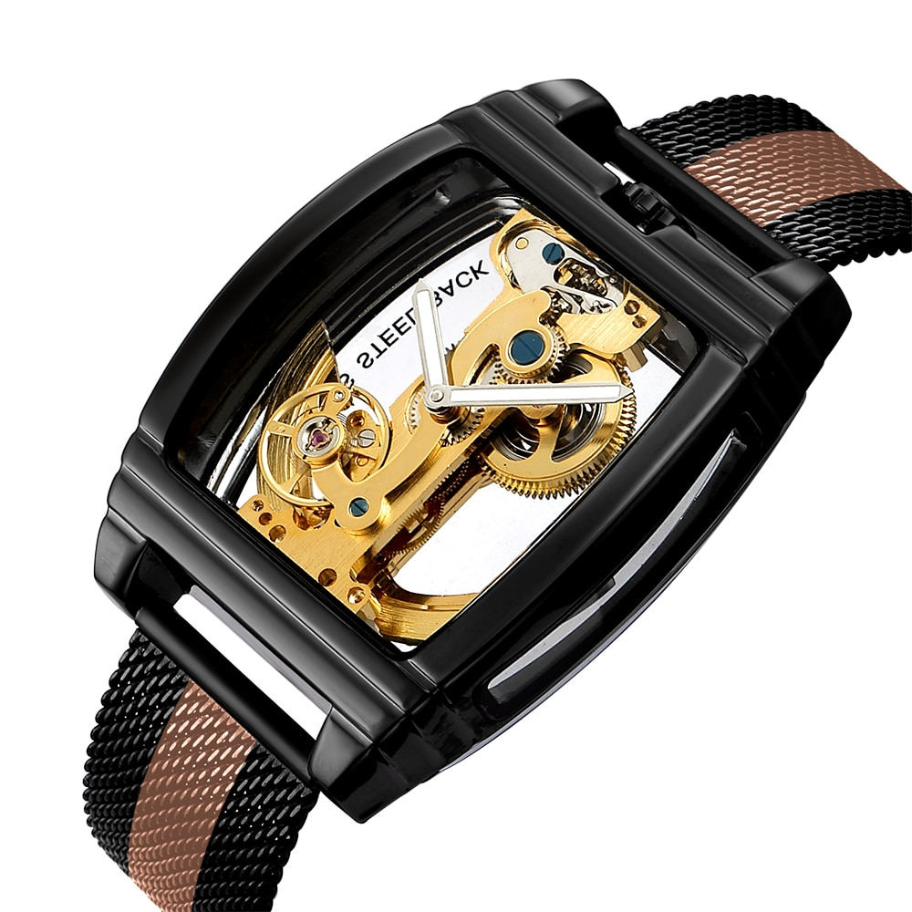Automatic Mechanical Watch Men Fashion Transparent Watch Mens Leather Strap Top Brand Steampunk Self Winding Watch montre homme parnis pilot iin seriers luminous mens leather watchband fashion automatic self wind mechanical watch wristwatch