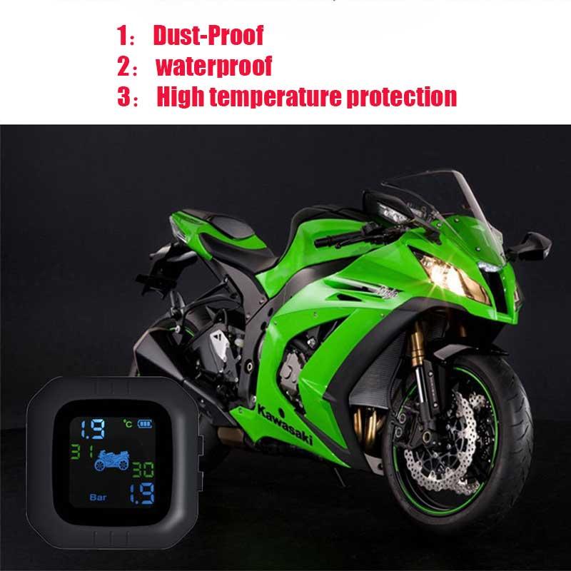 La monitorización de la presión de los neumáticos de la motocicleta evita la presión excesiva del neumático de la alarma del desgaste del neumático de la motocicleta con 2 sensores externos impermeables