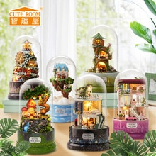 1pcs Music Dollhouse Rotating Booth Diy Dollhouse with Transparent Cover Music Box for Kids Christma
