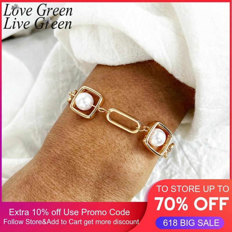 2020 жемчужные браслеты, квадратная металлическая Очаровательная цепочка, золотой браслет, плетеные аксессуары, золотые браслеты для женщин, оптовая продажа