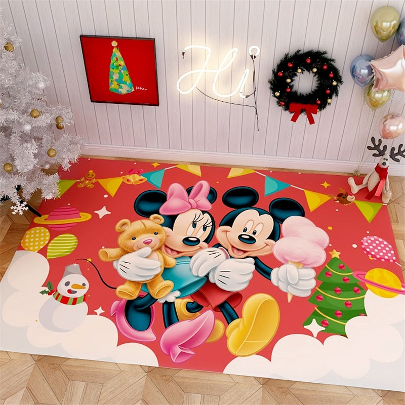christmas trees gifts pattern indoor outdoor area rug Cartoon Christmas Rug Carpet  Mickey Playmat  Bedroom Kids Play Mat Santa Tree Gifts Area Rugs Bedside Carpets for Living Room