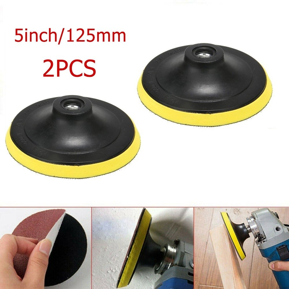 2 шт., подложка для полировальной подушки 5 дюймов 125 мм M10, отверстие с крючком и петлей, шлифовальный диск для фототехники