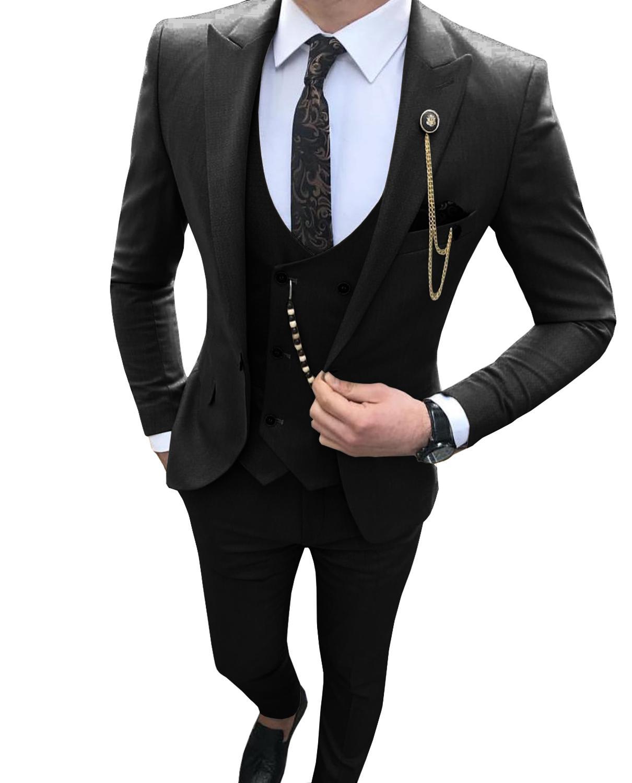 Black/beige/Grey Men Wedding Suit 3 Piece Casual Peaked Lapel Groommen Tuxedos Costume Homme Suits Men 2019(Blazer+Vest+Pant)