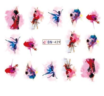 Adesivo de água para a arte do prego decoração slider aquarela tinta ballet dança menina dançarino design decalque laca accessoires cola 7