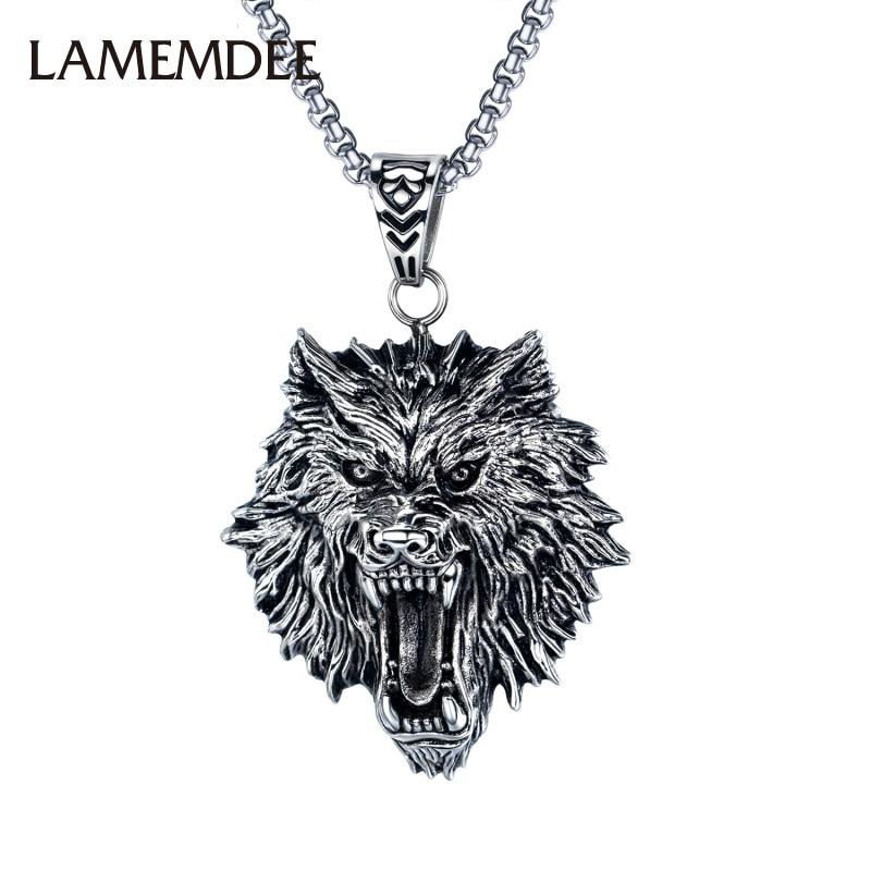 1 Uds collar de acero de titanio con cabeza de Lobo collar...