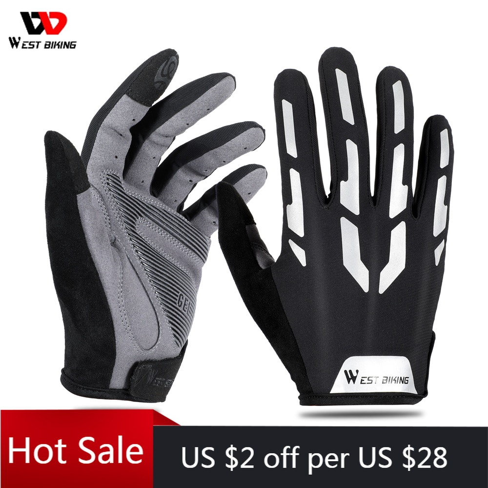 WEST BIKING Full Finger Cycling Gloves Touch Screen Summer Breathable Gloves MTB Bicycle Sports Motorcycle Men Women Gloves