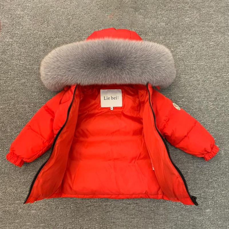 2021 Real Fur Winter Suit for Children Down Warm Baby Boy Outfit Hooded Girls Clothes Sets Outdoor Snowsuit Kids Sport Tracksuit enlarge