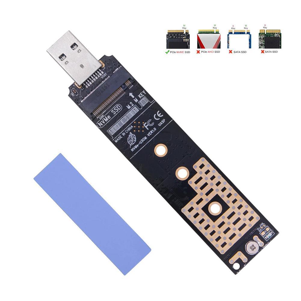 Nvme para usb adaptador ssd para usb 3.1 tipo um cartão conversor de disco rígido liga de alumínio adaptador 10 gbps gen 2 chip m.2 adaptador usb