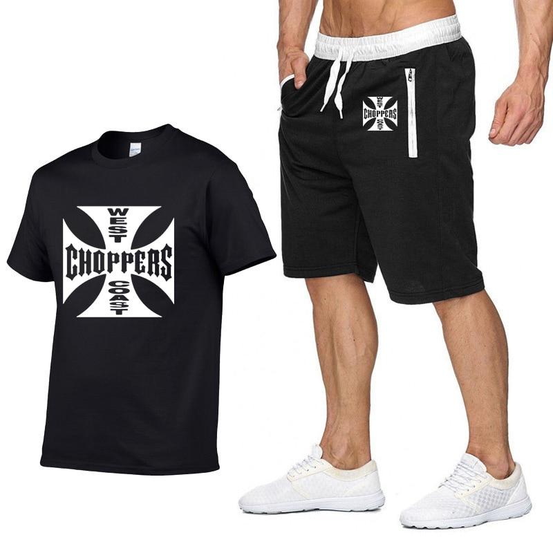 Футболка с принтом рок-музыки West Coast, летняя мода для мужчин, хлопок, хип-хоп, Харадзюку, футболка с коротким рукавом и брюки, костюм