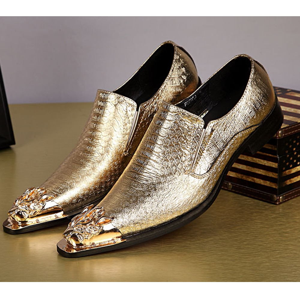 أحذية رجالية غير رسمية على شكل رأس تنين ذهبي ، أحذية زفاف ، أزياء ، مأدبة أعمال ، حزام رياح ، رجال