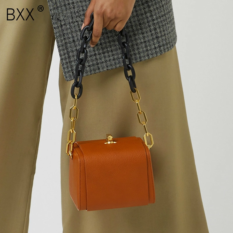 [BXX] bolso cruzado de cuero PU de calidad para mujer, bandolera de hombro con forma de caja de 2020, bolsos de viaje para mujer HJ716