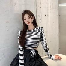 Oversize T Shirt No Minus Early Autumn Lace-up Striped Elastic Tee Shirt Women Tshirt