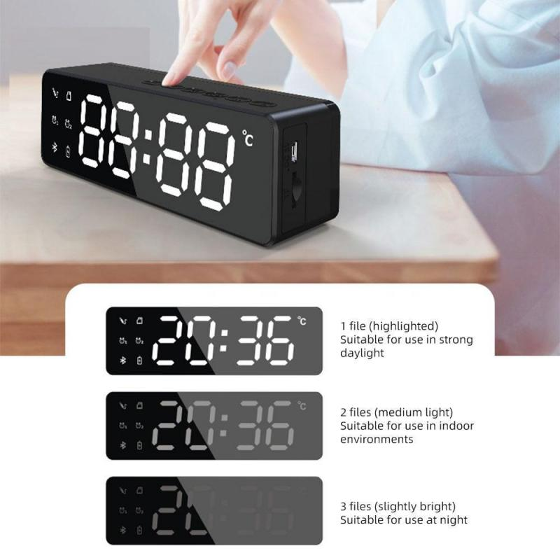 B119 Bluetooth-compatible Speaker Outdoor 3D Stereo FM/TF/AUX With Mirror Alarm Clock Wireless Column Subwoofer Music Center enlarge