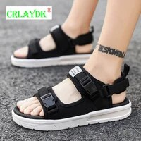 crlaydk men sandals summer soft platform slippers buckle strap light beach shoes popular student adult breathable open toe flats