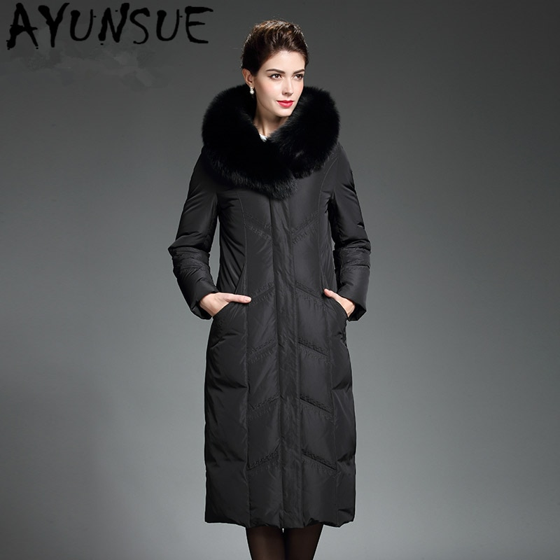 AYUNSUE, chaqueta de invierno para mujer, piel de zorro Real con capucha,...
